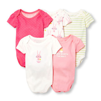 Baby Girls Short Sleeve Bunny Chick Mixed Print Bodysuit 5-Pack | The Children's Place