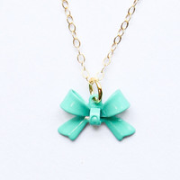 Bow necklace - gold jewelry - mint green jewelry - simple gold necklace - minimalist