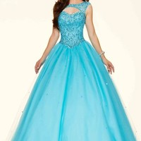Mori Lee Lace Back Ball Gown 98033