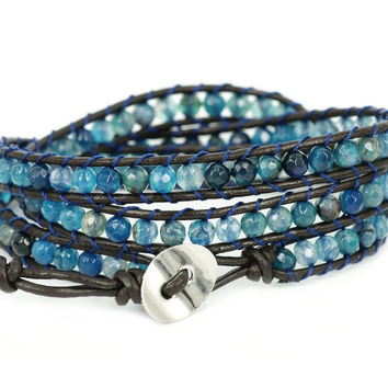 """Blue Star"" Agate Bead Genuine Leather Bracelet"