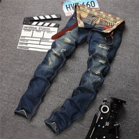Ripped Holes Slim Fashion Pants Jeans [6541752067]