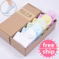HOT women socks cute candy thin invisible 100% cotton socks high/boat Casual socks solid color four seasons three styles