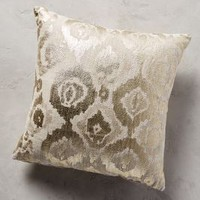 """Metallic Ikat Pillow by Anthropologie in Gold Size: 18"""" X 18"""" Pillows"""