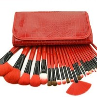 Crazycity Professional Makeup Cosmetic Brush Set Kit with Pouch Bag Case (24pcs red)