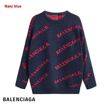 Balenciaga Fashion New More Letter Print Women Men Leisure Long Sleeve Top Sweater Navy Blue