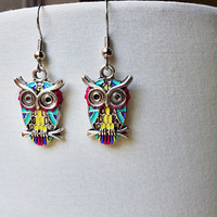 Colorful Owl Dangle Earrings - Hand Painted, Hypoallergenic