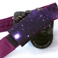 Galaxy Camera Strap with lens pocket. DSLR Camera Strap. Space Camera Strap. Purple Padded Camera Strap. Etsy Gifts. Camera Accessories