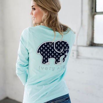 Perfect Fit Neon Mint Anchors Tee