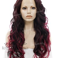 "26 inch Heat Safe Synthetic Lace Front in Curly Texture ""Calypso"" in Burgundy Ombre"