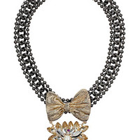 Bow and Rhinestone Drop Collar - Jewelry  - Bags & Accessories