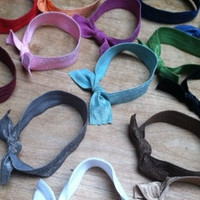 "10 for 10, Wide Elastic Hair Ties and Head Bands (headbands) made with ""foldable elastic"" that you can wear on your wrist"