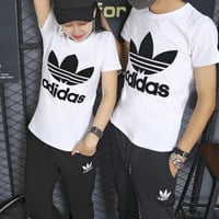 """""""Adidas"""" Fashion Casual Embroidery Stitching Clover Letter Unisex Short Sleeve Couple Set Two-Piece Sportswear"""