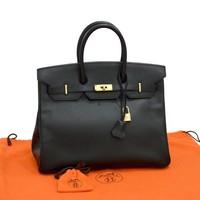 Auth HERMES Black Birkin 35 Bag Handbag Ardennes Leather GHW Excellent Condition