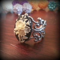 Rose Cameo Adjustable Ring Resin Flower Ring Vintage Black and White Rose Cameo