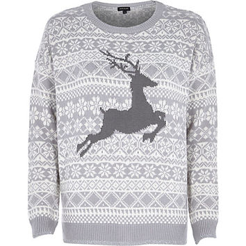 River Island Womens Grey reindeer knitted Christmas sweater