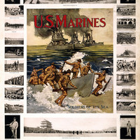 "WWI Poster U.S. Marines ""Soldiers Of The Sea"" Good Pay Foreign Travel Congenial"