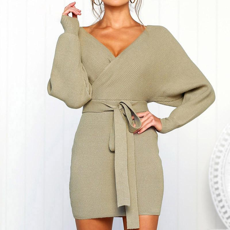 Image of sexy v neck sweater dress women knitted vestidos bandage bodycon hollow out wrap dress female party dresses