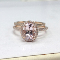 Wedding Ring Sets!Morganite Diamond Engagement Ring in 14K Rose Gold,7x9mm Oval Cut Morganite,Diamond Matching Band,Claw Prongs,Fine Ring