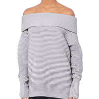 Fine Knit Off-The-Shoulder Sweater