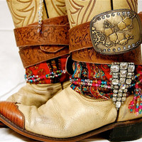 Upcycled Boho Gypsy Spirit Leather Cowgirl Boots, Vanilla & Cognac, Gypsy Bling, Bandana Boots, Rustic, Gypsy Cowgirl, size US 7.5 Women