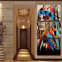 Home Decor HD Printed Woman Posters Frame Wall Art Pictures 3 Pieces American Indian Canvas Feathered Painting Living Room Photo