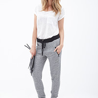 LOVE 21 Marled Knit Joggers Heather Grey/Black