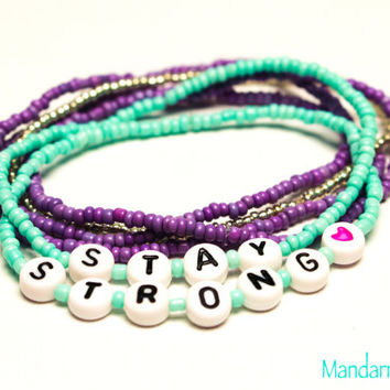 Stay Strong Beaded Bracelets, Set of Six, Teal, Purple, and Silver, Recovery Jewelry, Gifts for Her