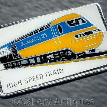 Vintage retro High Speed Train (British Rail Inter City 125) Chrome and Enamel Pin / Lapel Badge by Clubman c.1980's (ref: 3206)