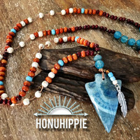 Boho Hippie Arrowhead necklace, native american festival jewelry