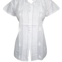 Mogul Interior Womens White Tunic Shirt Floral Hand Embroidered Elegant Button Front Top Blouse