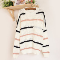Pocket Striped Round Neck Sweater [54]