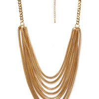 FOREVER 21 Layered Box Chain Necklace Gold One