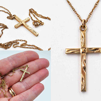 ON SALE Vintage 14K Yellow Gold Filled Cross Pendant Necklace, 14K Gf Rope Chain, Chased, Swirl, 3D,  Signed Ppc, So Beautiful! #c492