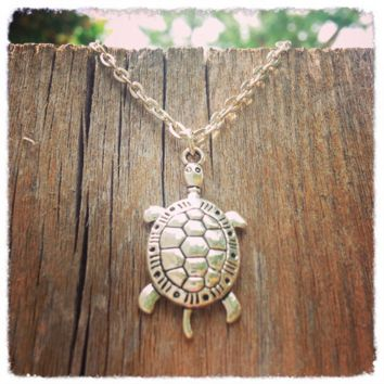 Handmade Silver Turtle Necklace