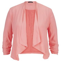Plus Size - Peach Melba Drape Front Blazer With Cinched Sleeves - Peach Melba