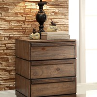 Banas Transitional 3-Drawer Nightstand in Natural