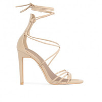SERINA SPAGHETTI STRAP LACE UP HEELS IN NUDE