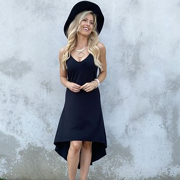 Cheers To The Day Jersey Hi Low Dress in Black