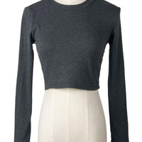 Gray Strappy Back Cable Knit Crop Sweater