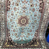 6x9 Pakistan Carpet Rug Persian Silk Wool Blend Hand Knotted Turquoise Sea Green Teal New