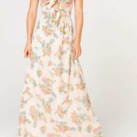 Openwork Backless Bow Tie Pearl Sequin Print Sling Dress