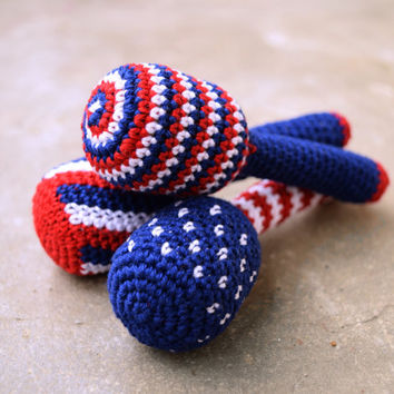 Patriotic baby rattle, striped, dotted, red white and blue, lightweight teether, baby shower gift idea, 4th of july, Choose the one you like