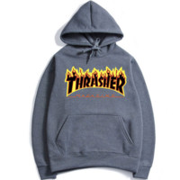 """""""THRASHER"""" Fashion print flame movement  hooded sweater Dark grey black flame (5 color)"""