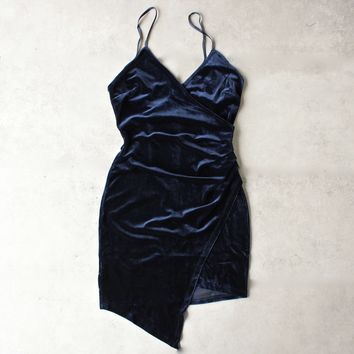 let's take a holiday mini dress - velvet navy