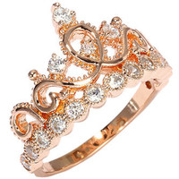 Jewels Obsession Sterling Silver Crown Ring / Princess Ring (Rose Gold Plated)