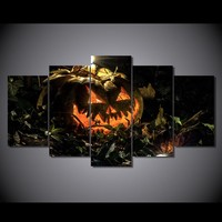 5 Pcs panel wall print on canvas candle SPOOKY halloween pumpkin at night- BOO!