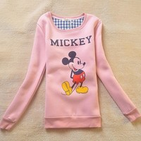Women's Fashion Round-neck Cartoons Long Sleeve Pullover Hoodies [9036924620]