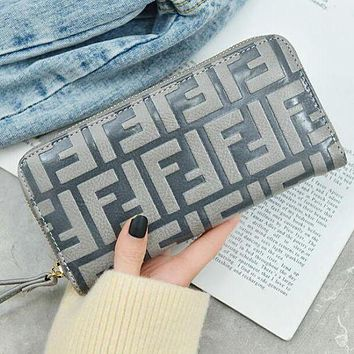FENDI Fashion New Hot Sale Leather Zipper Women Purse Handbag Wallet Brown