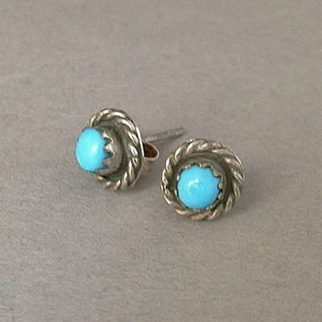 Old Pawn Vintage Native American NAVAJO Stud Earrings TURQUOISE Earring Studs STERLING Silver Sleeping Beauty c.1950s