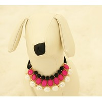 Hot pink Pearl and Rhinestone Dog jewelry- Pet accessories, Pearl Necklace, Dog beaded Necklace